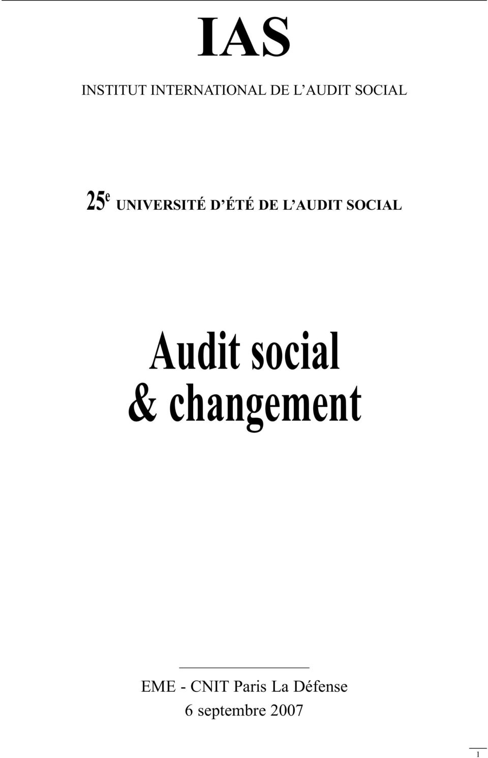 SOCIAL Audit social & changement EME -