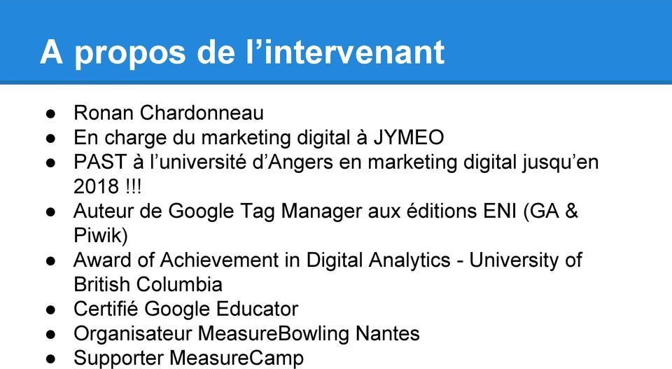 !! Auteur de Google Tag Manager aux éditions ENI (GA & Piwik) Award of Achievement in