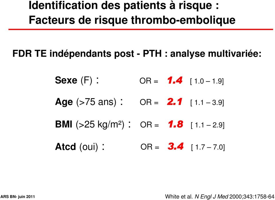 4 Age (>75 ans) : OR = 2.1 BMI (>25 kg/m²) : OR = 1.8 Atcd (oui) : OR = 3.4 1.