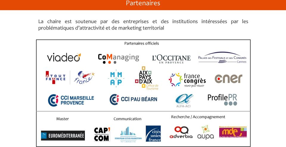 d attractivité et de marketing territorial Partenaires