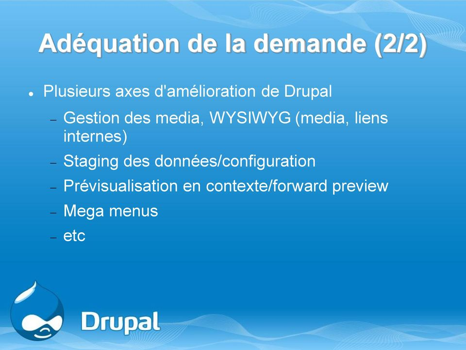 (media, liens internes) Staging des