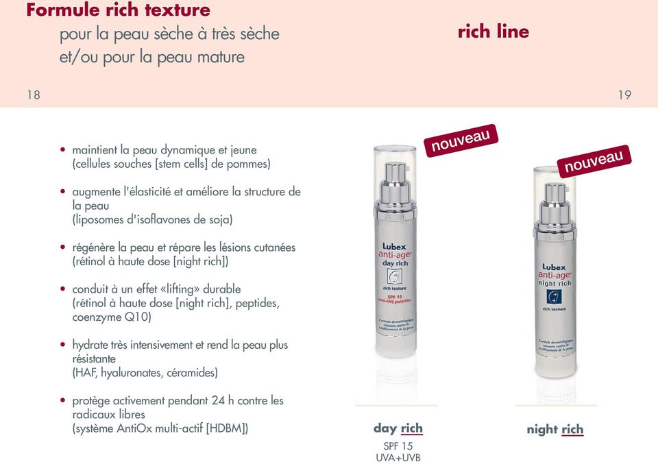 dose [night rich]) conduit à un effet «lifting» durable (rétinol à haute dose [night rich], peptides, coenzyme Q10) hydrate très intensivement et rend la peau plus