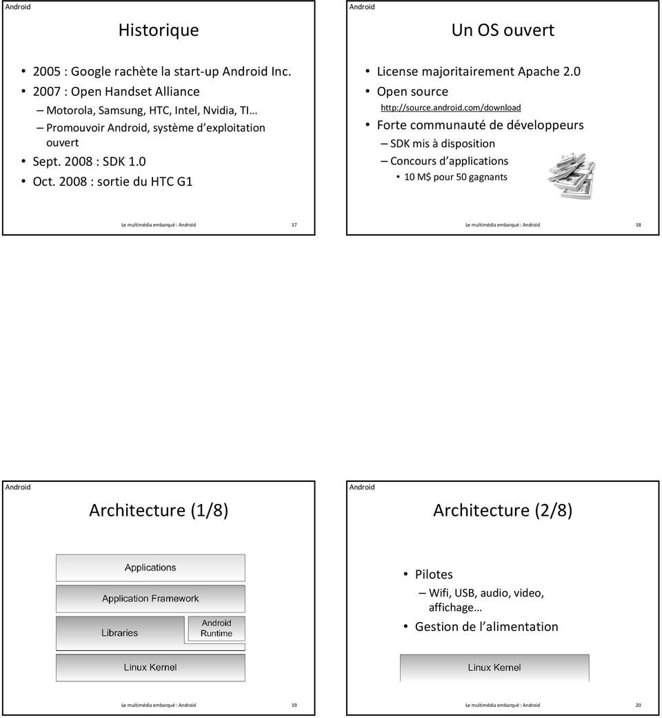 2008 : sortie du HTC G1 License majoritairement Apache 2.0 Open source http://source.android.