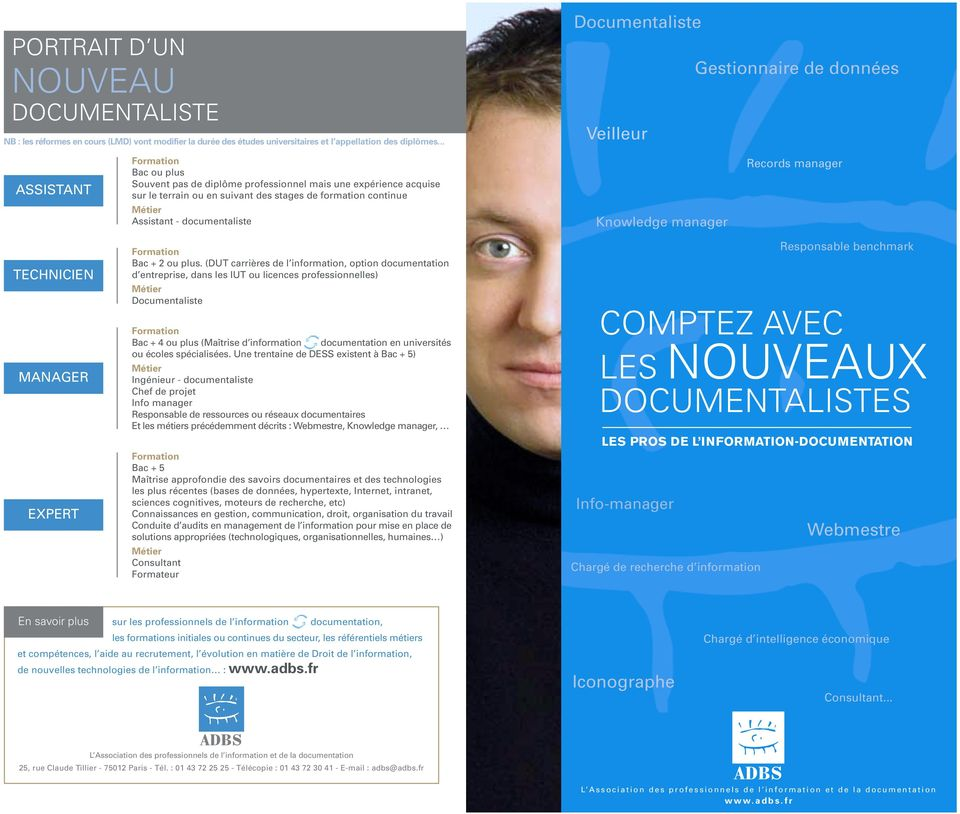 Assistant - documentaliste Knowledge manager Records manager TECHNICIEN MANAGER EXPERT Bac + 2 ou plus.