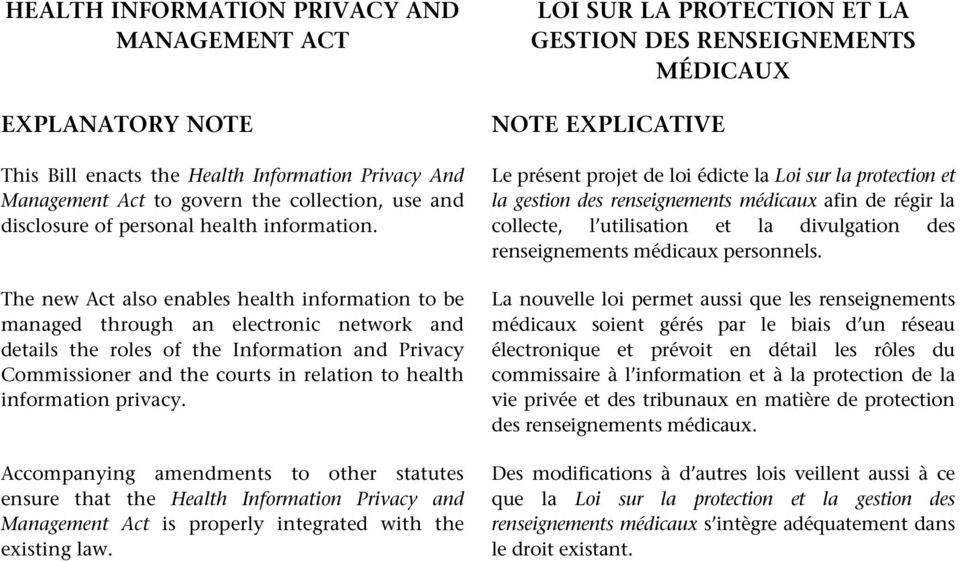 The new Act also enables health information to be managed through an electronic network and details the roles of the Information and Privacy Commissioner and the courts in relation to health