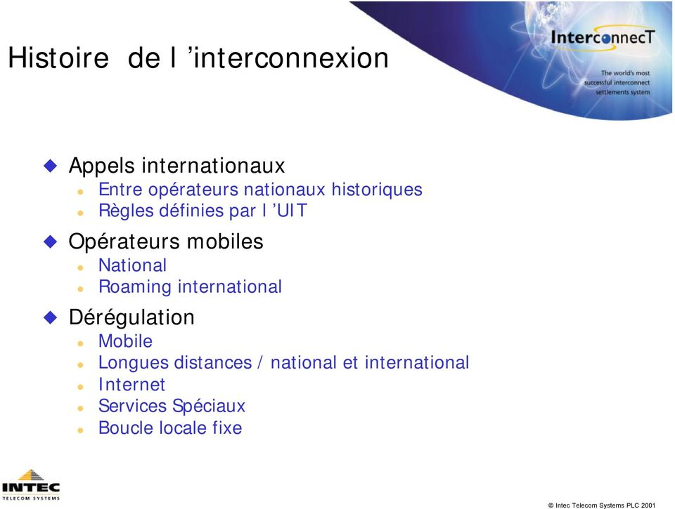 National Roaming international Dérégulation Mobile Longues distances