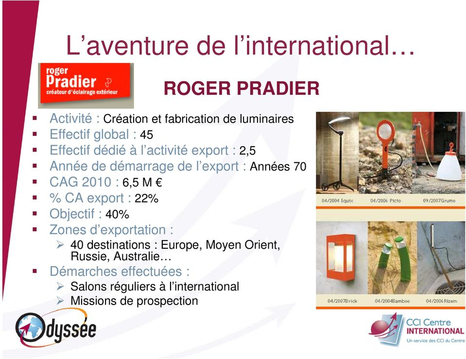 CA export : 22% Objectif : 40% Zones d exportation : 40 destinations : Europe, Moyen Orient,