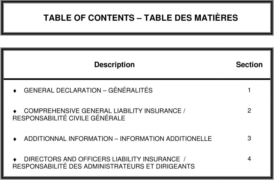CIVILE GÉNÉRALE 2 ADDITIONNAL INFORMATION INFORMATION ADDITIONELLE 3 DIRECTORS