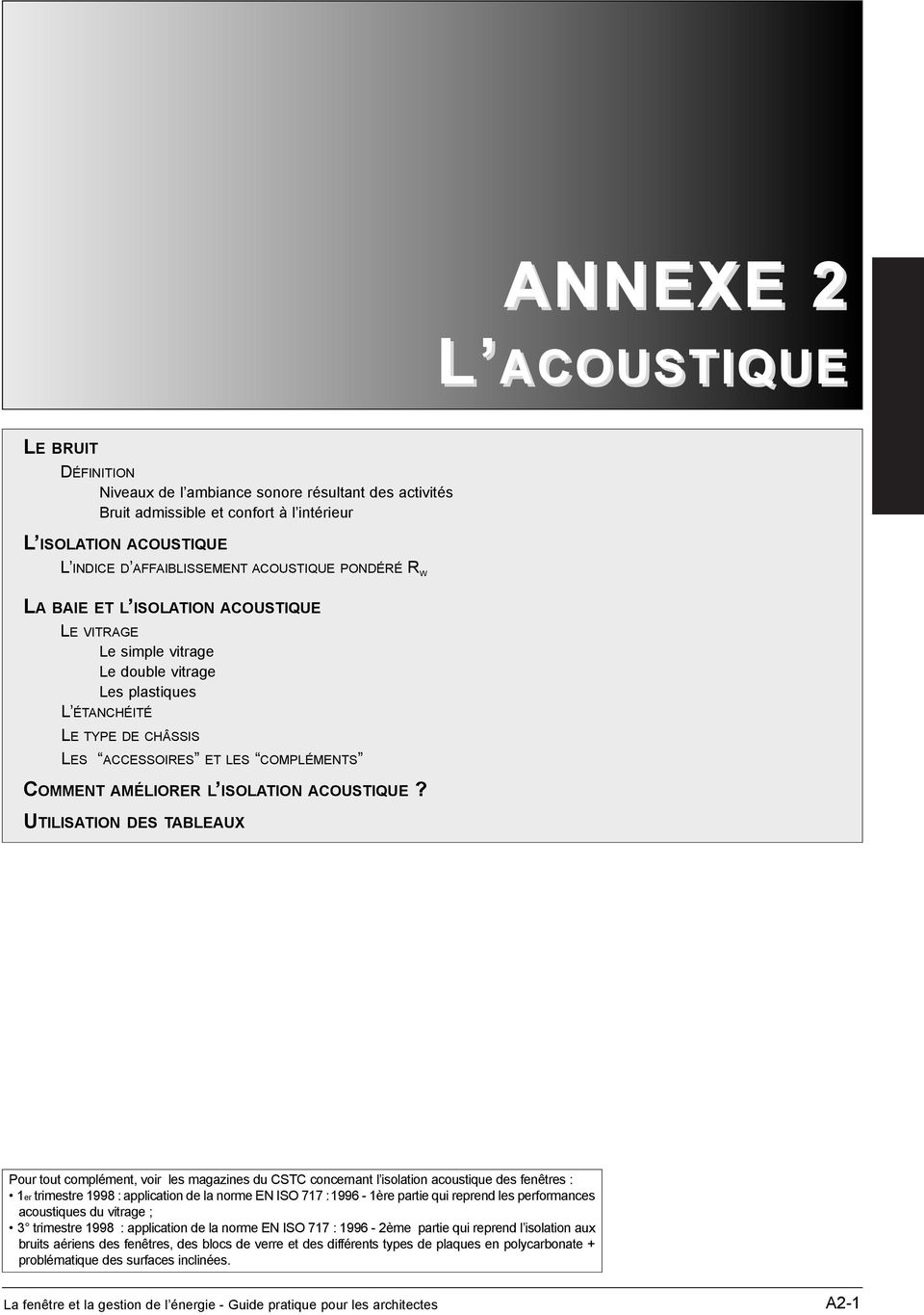 ISOLATION ACOUSTIQUE?