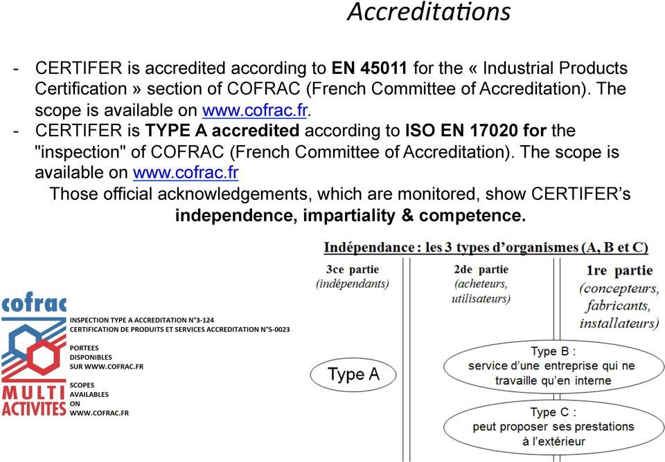 "c.fr. - CERTIFER is TYPE A accredited according to ISO EN 17020 for the ""inspection"" of c."