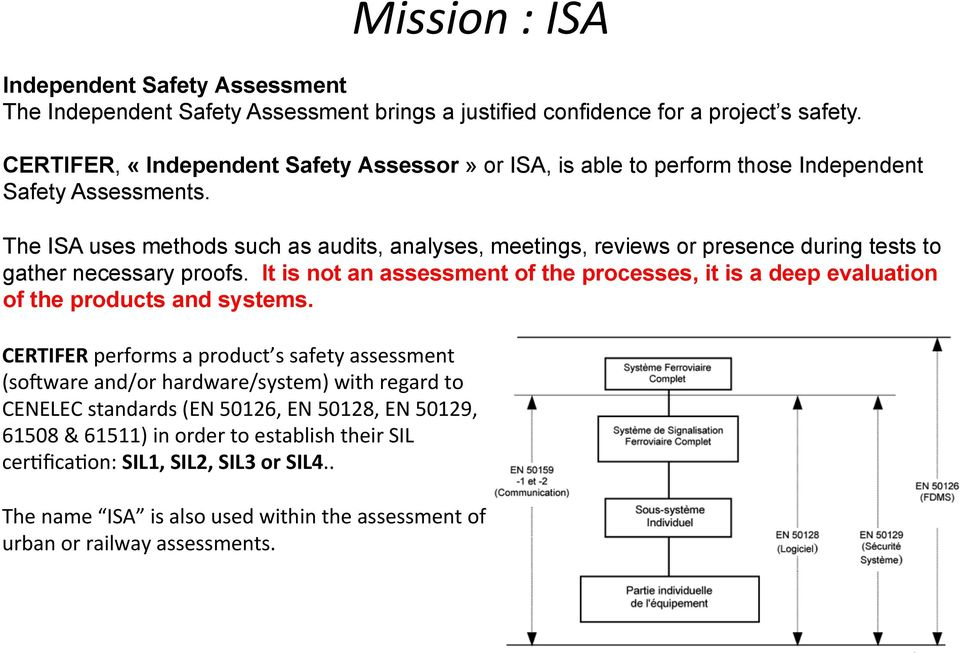 The ISA uses methods such as audits, analyses, meetings, reviews or presence during tests to gather necessary proofs.