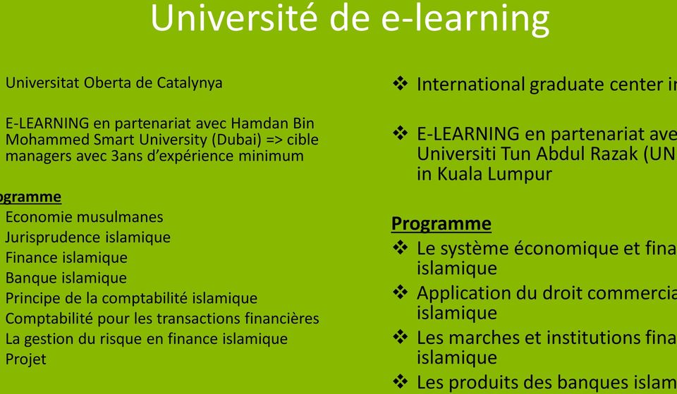 transactions financières La gestion du risque en finance islamique Projet International graduate center in E-LEARNING en partenariat ave Universiti Tun Abdul Razak (UNI