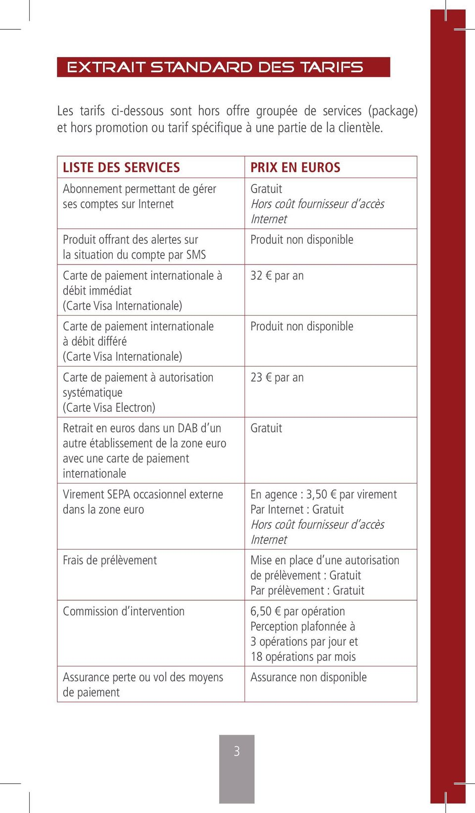 Internationale) Carte de paiement internationale à débit différé (Carte Visa Internationale) Carte de paiement à autorisation systématique (Carte Visa Electron) Retrait en euros dans un DAB d un