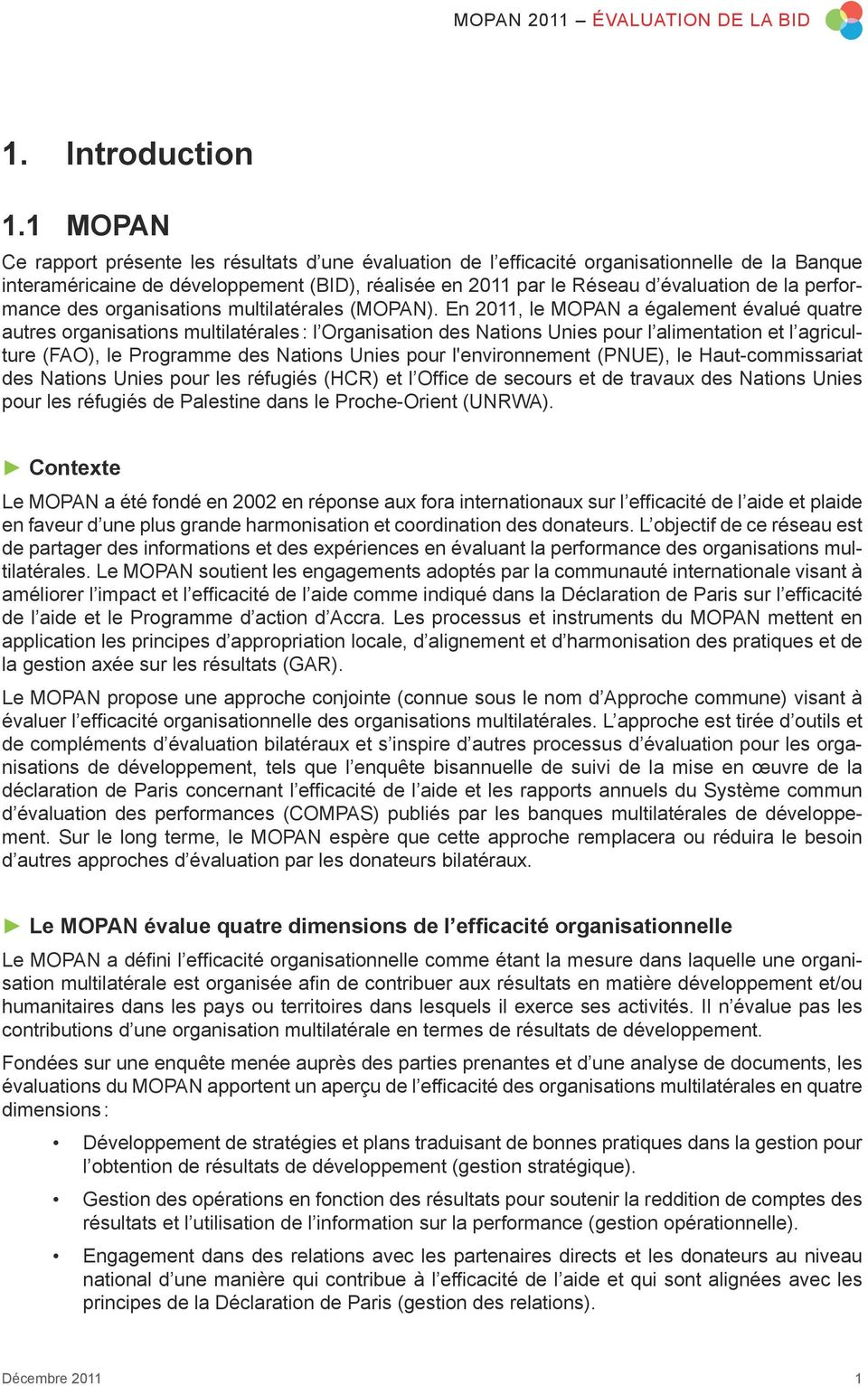 performance des organisations multilatérales (MOPAN).
