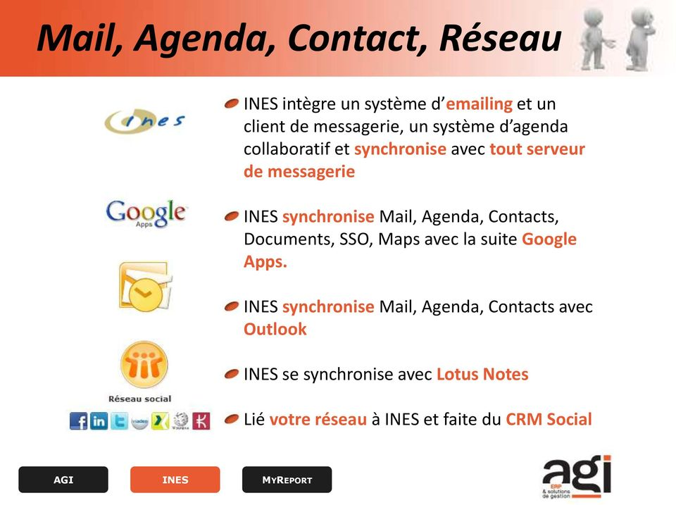 Agenda, Contacts, Documents, SSO, Maps avec la suite Google Apps.