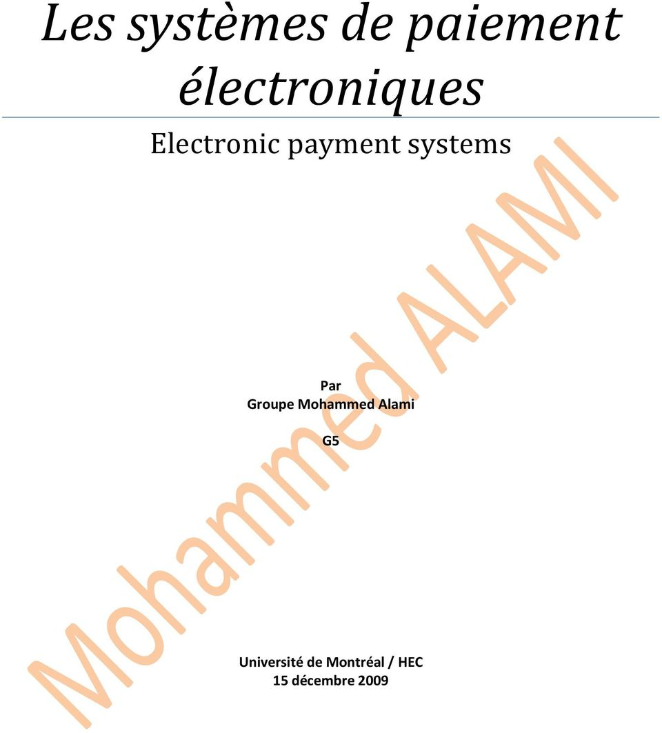 systems Par Groupe Mohammed Alami