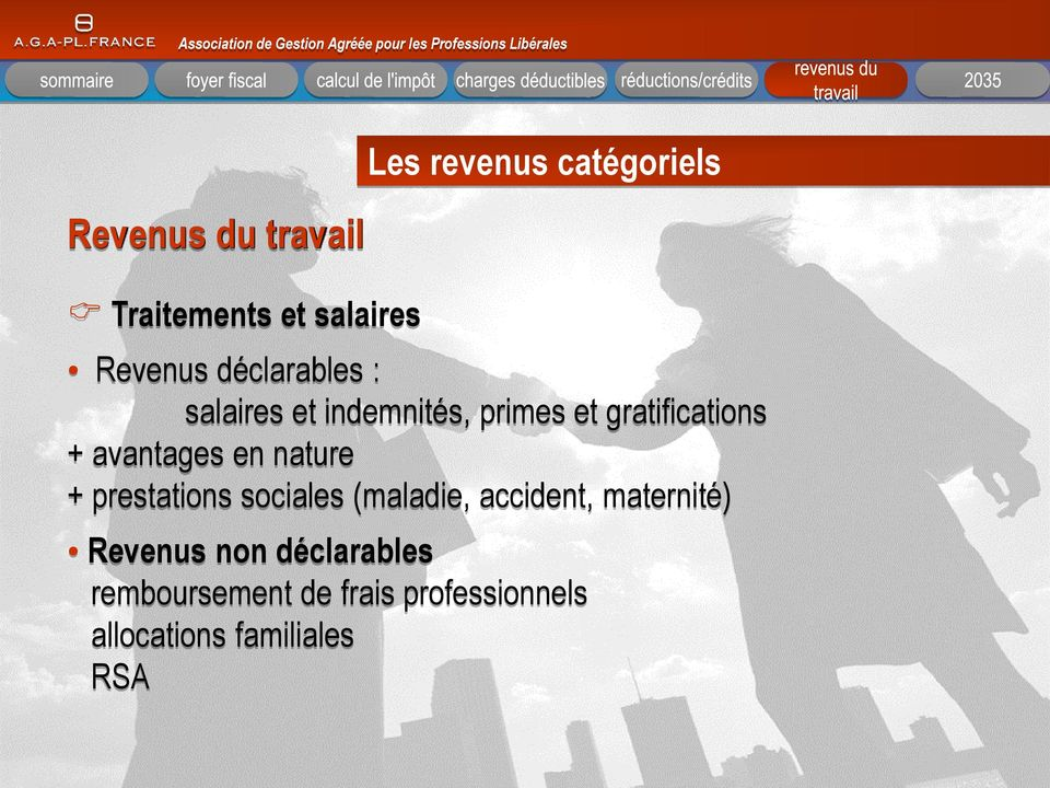 en nature + prestations sociales (maladie, accident, maternité) Revenus non