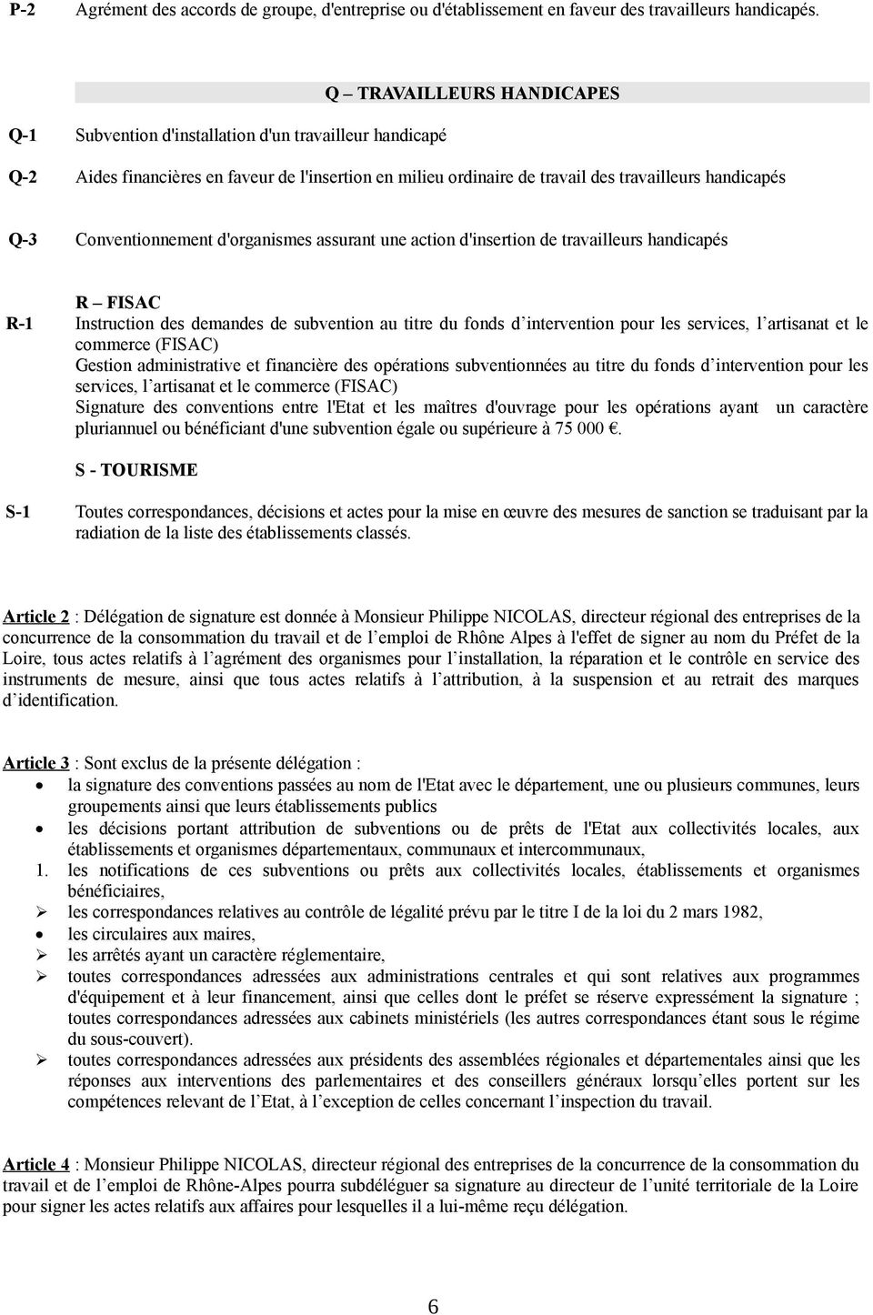 Conventionnement d'organismes assurant une action d'insertion de travailleurs handicapés R FISAC R-1 Instruction des demandes de subvention au titre du fonds d intervention pour les services, l