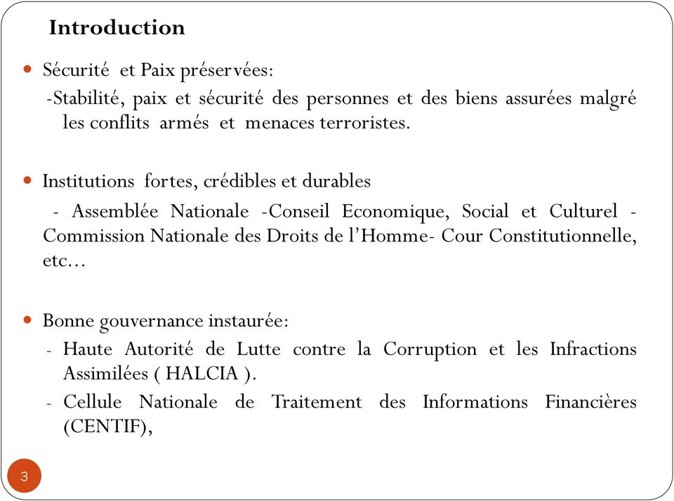 Institutions fortes, crédibles et durables - Assemblée Nationale -Conseil Economique, Social et Culturel - Commission Nationale des