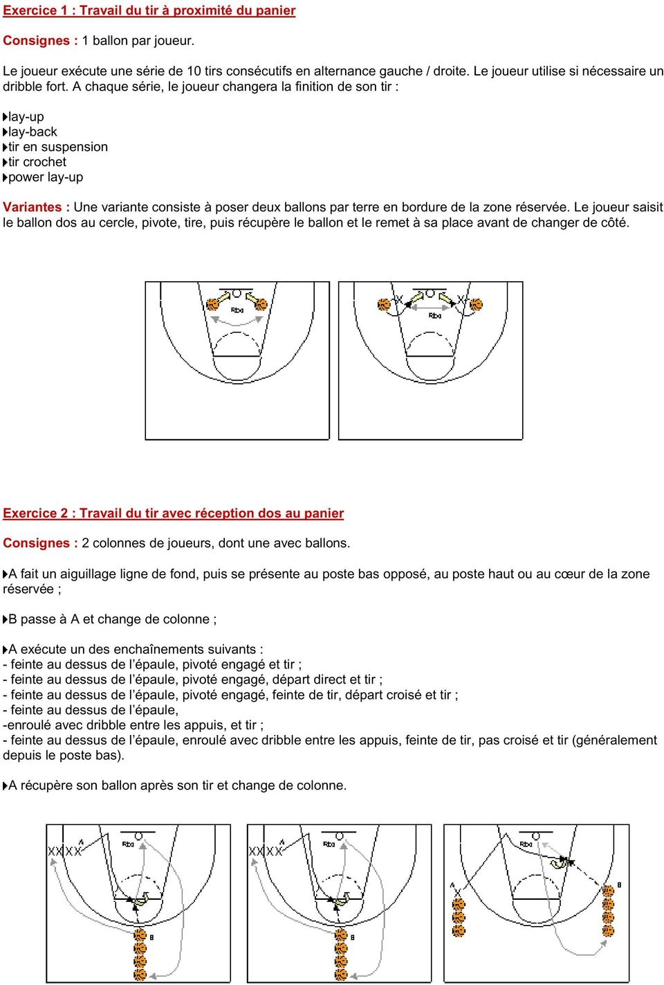 A chaque série, le joueur changera la finition de son tir : lay-up lay-back tir en suspension tir crochet power lay-up Variantes : Une variante consiste à poser deux ballons par terre en bordure de
