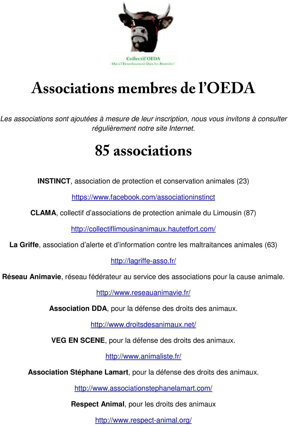 com/associationinstinct CLAMA, collectif d associations de protection animale du Limousin (87) http://collectiflimousinanimaux.hautetfort.