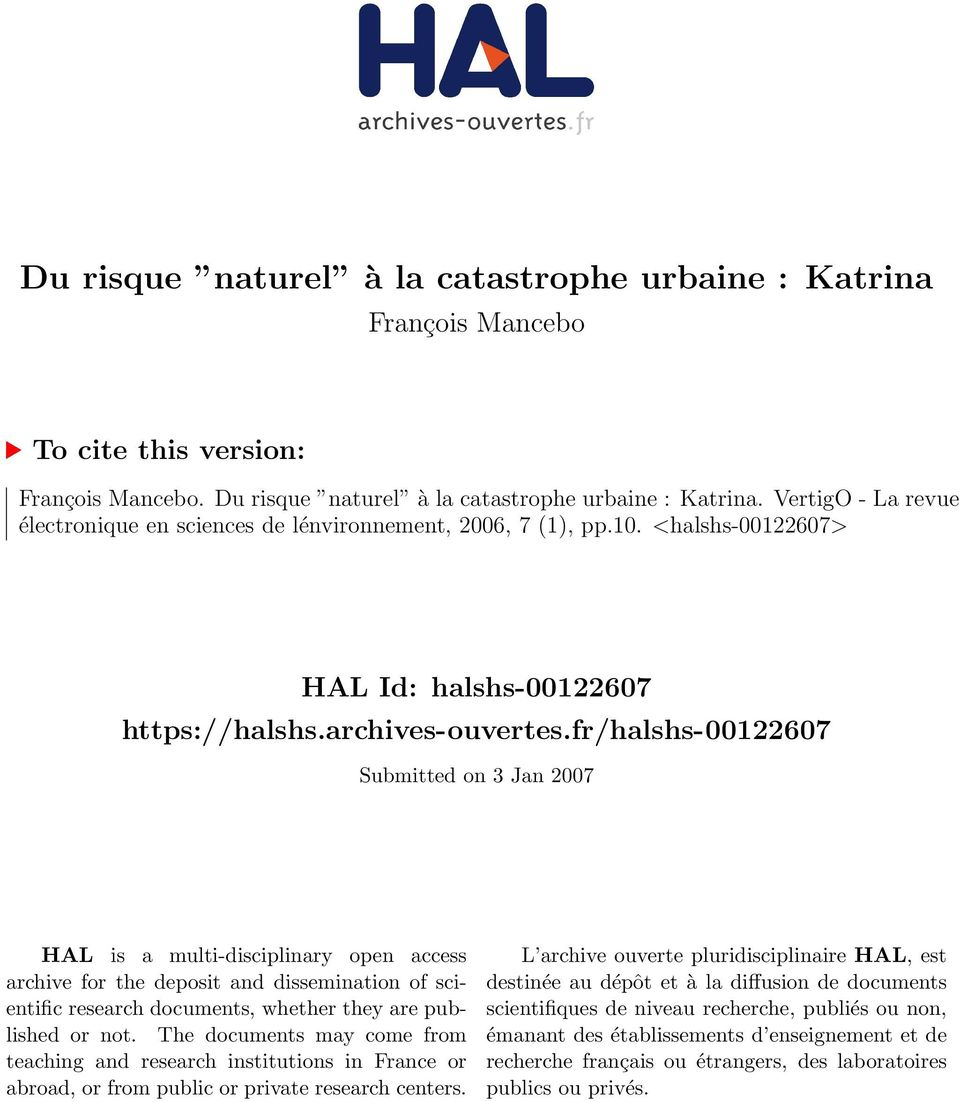 fr/halshs-00122607 Submitted on 3 Jan 2007 HAL is a multi-disciplinary open access archive for the deposit and dissemination of scientific research documents, whether they are published or not.