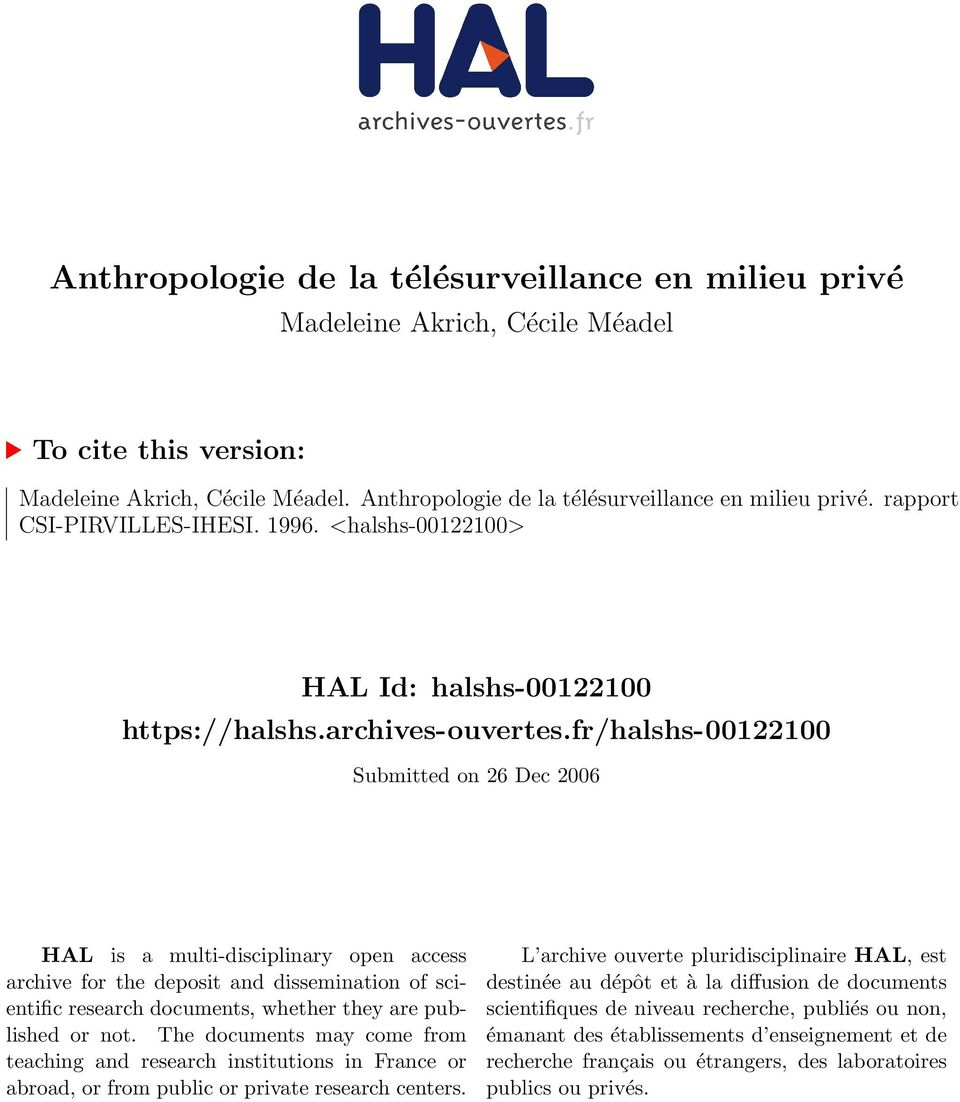 fr/halshs-00122100 Submitted on 26 Dec 2006 HAL is a multi-disciplinary open access archive for the deposit and dissemination of scientific research documents, whether they are published or not.