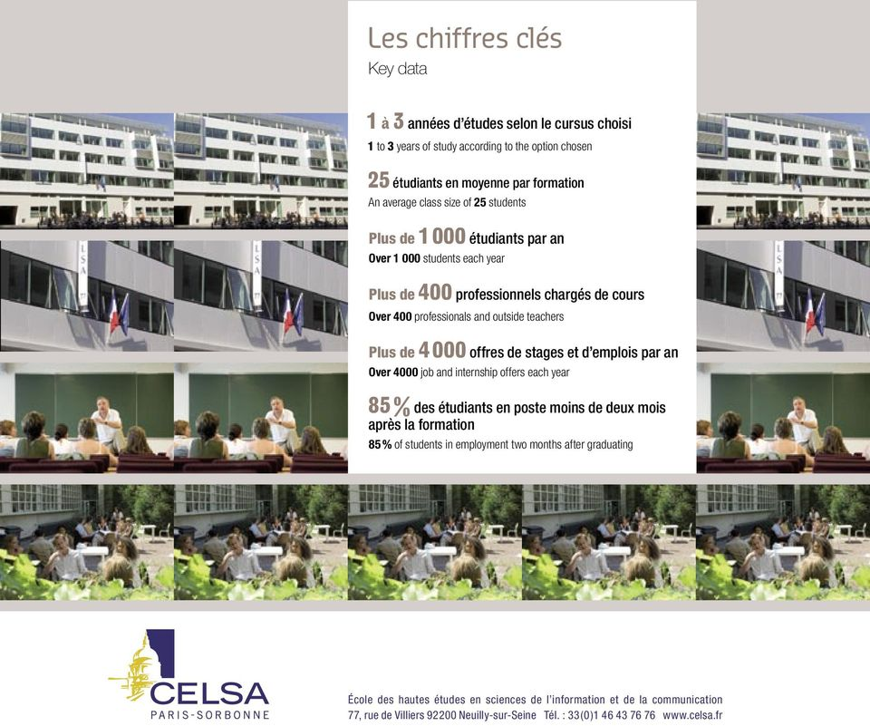 professionals and outside teachers Plus de 4 000 offres de stages et d emplois par an Over 4000 job and internship offers each year 85 % des étudiants en poste