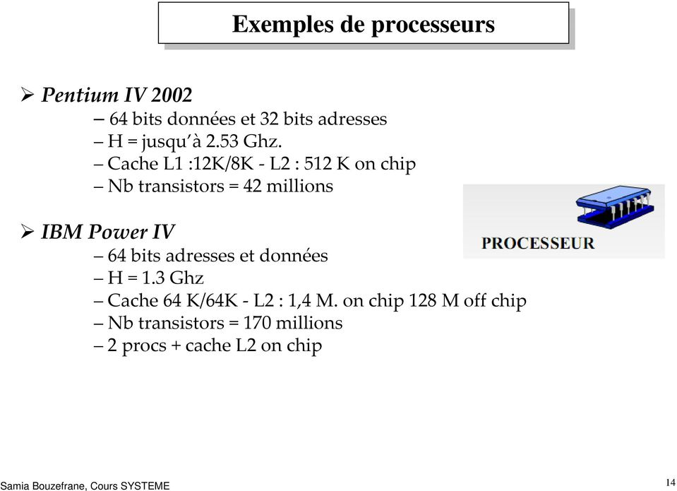 Cache L1 :12K/8K -L2 : 512 K on chip Nbtransistors = 42 millions IBM PowerIV 64 bits