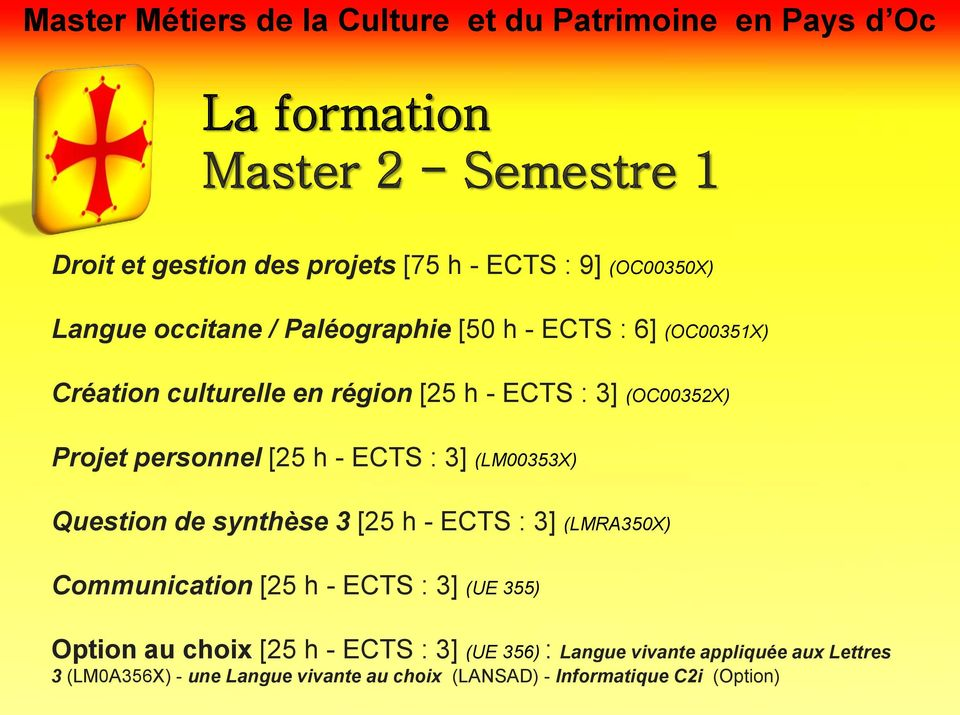 (LM00353X) Question de synthèse 3 [25 h - ECTS : 3] (LMRA350X) Communication [25 h - ECTS : 3] (UE 355) Option au choix [25 h -