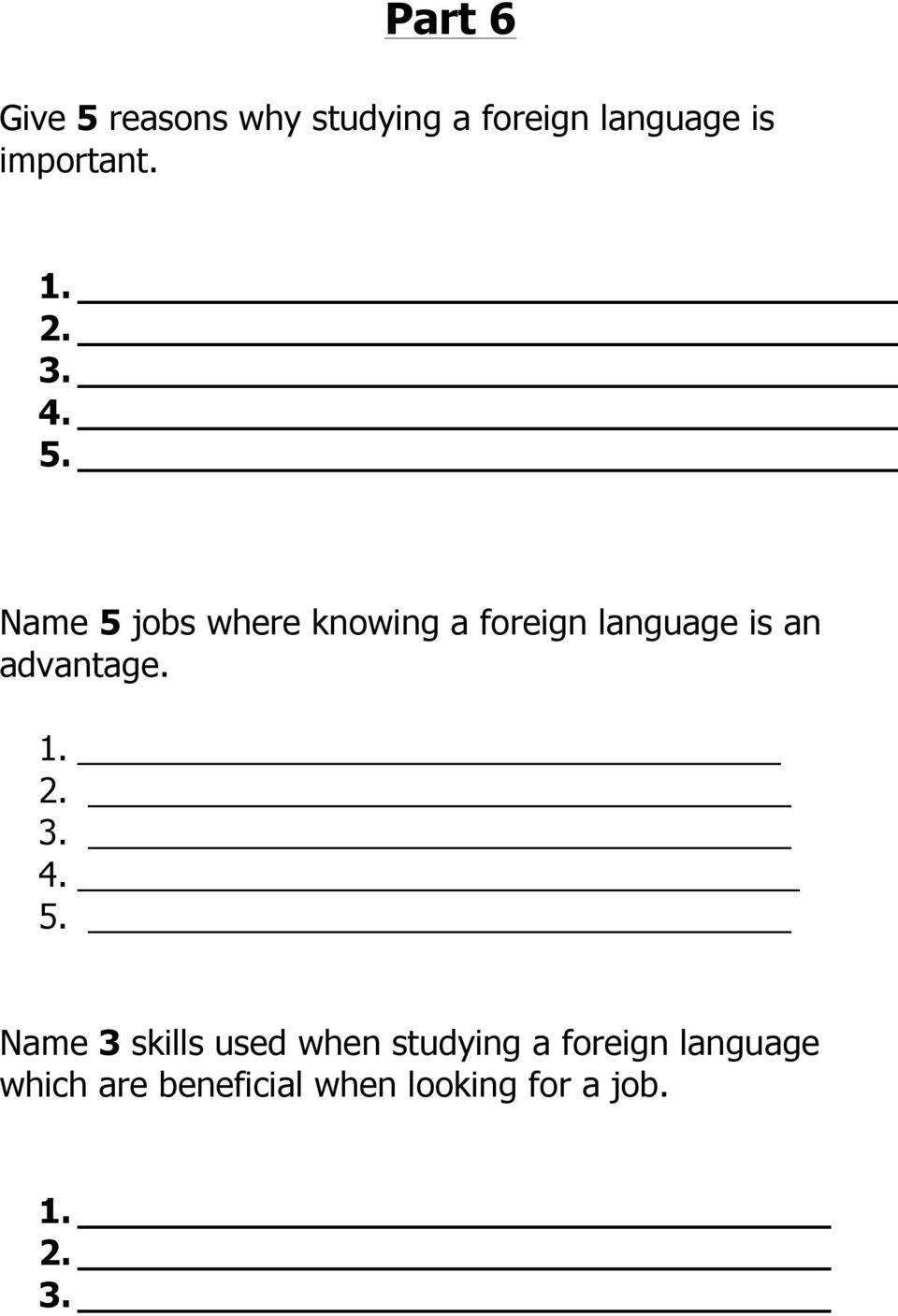 Name 5 jobs where knowing a foreign language is an advantage.