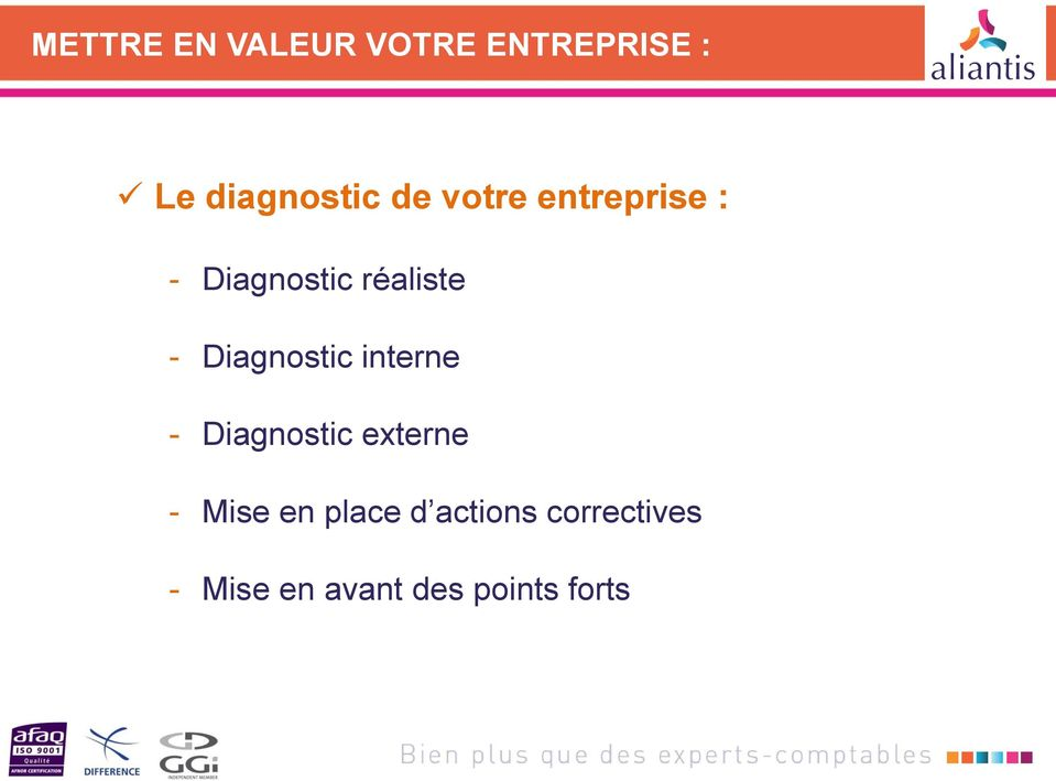 Diagnostic interne - Diagnostic externe - Mise en