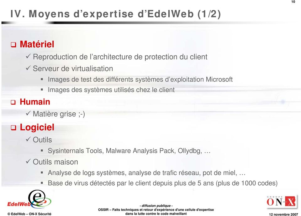 Humain Matière grise ;-) Logiciel Outils Sysinternals Tools, Malware Analysis Pack, Ollydbg, Outils maison Analyse de logs