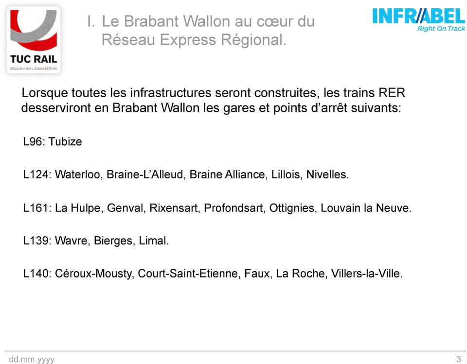 points d arrêt suivants: L96: Tubize L124: Waterloo, Braine-L Alleud, Braine Alliance, Lillois, Nivelles.
