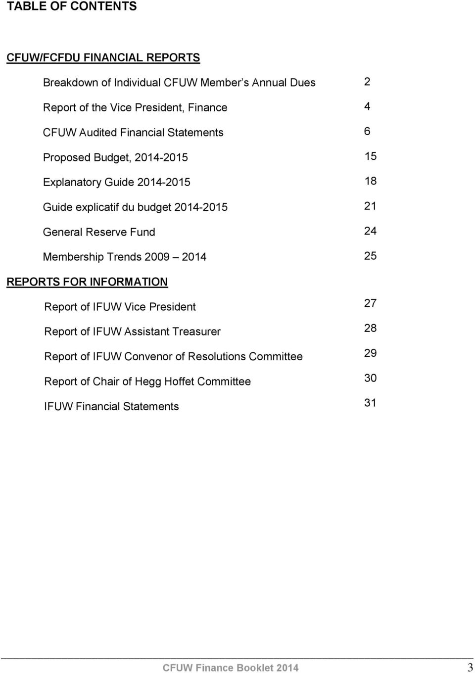 Membership Trends 2009 2014 2 4 6 15 18 21 24 25 REPORTS FOR INFORMATION Report of IFUW Vice President Report of IFUW Assistant Treasurer Report