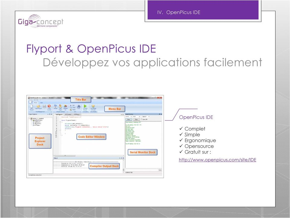 OpenPicus IDE Complet Simple Ergonomique