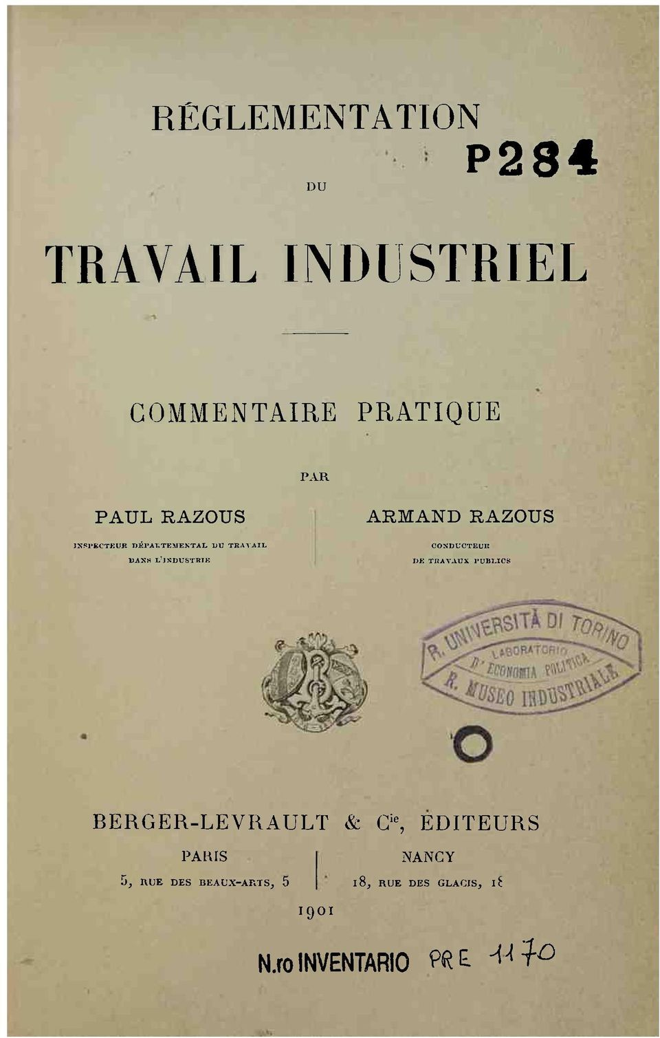 CONDUCTEUR DE TRAVAUX PUBLICS BERGER-LEVRAULT & G ie, EDITEURS PARIS 5,