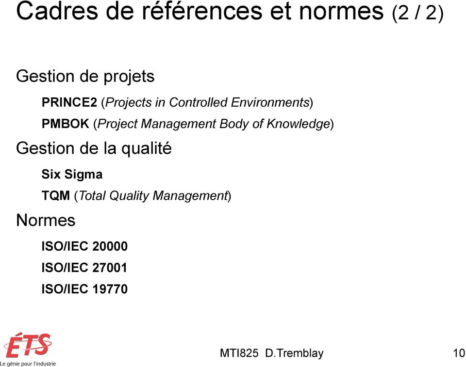 of Knowledge) Gestion de la qualité Six Sigma TQM (Total Quality