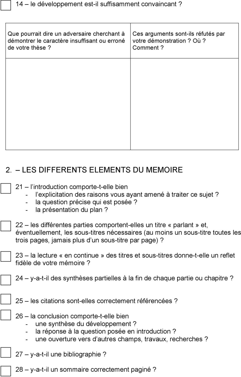 LES DIFFERENTS ELEMENTS DU MEMOIRE 21 l introduction comporte-t-elle bien - l explicitation des raisons vous ayant amené à traiter ce sujet? - la question précise qui est posée?