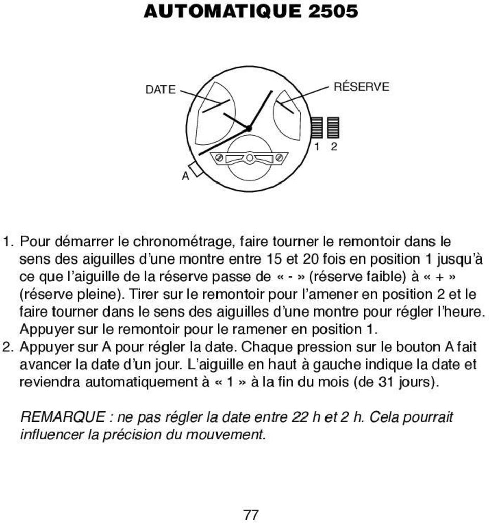 instructions analogiques mod les avec indication de la date pdf. Black Bedroom Furniture Sets. Home Design Ideas