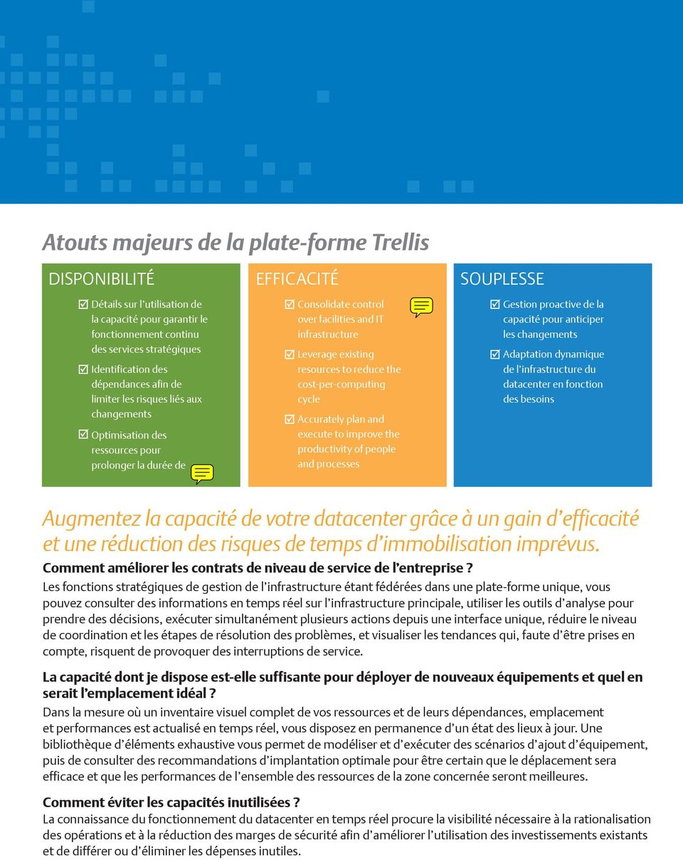reduce the cost-per-computing cycle Accurately plan and execute to improve the productivity of people and processes SOUPLESSE Gestion proactive de la capacité pour anticiper les changements