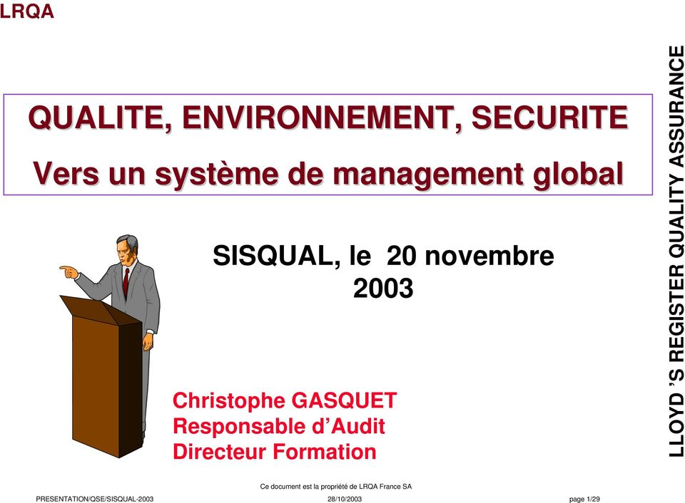 Christophe GASQUET Responsable d Audit Directeur