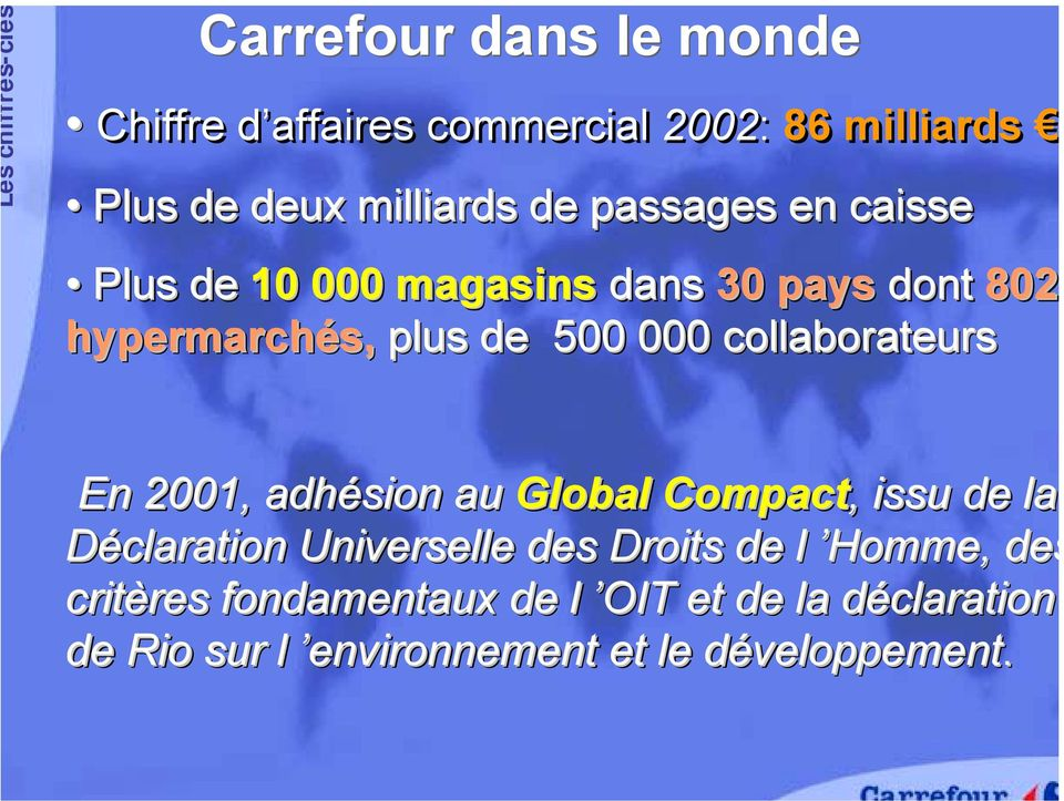 collaborateurs En 2001, adhésion au Global Compact,, issu de la Déclaration Universelle des Droits de l