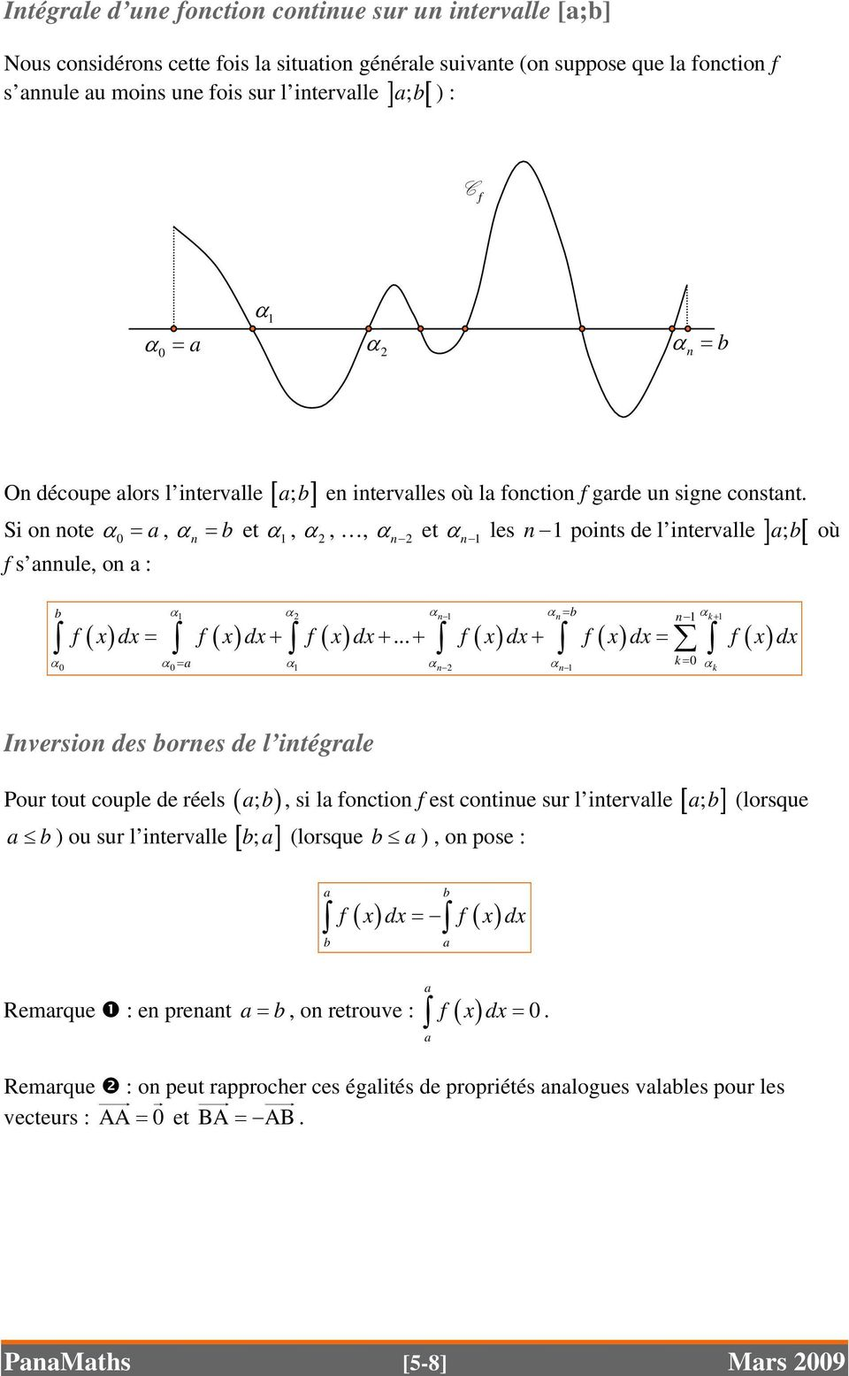 α les n 1 points de l intervlle ] ; [ Si on note α 0 =, α n = et α 1, 2 s nnule, on : α,, αn 2 et n 1 α1 α2 α n 1 α n= n 1 α k+ 1 = + + + + = k 0 0 0= = 1 n 2 n 1 k.