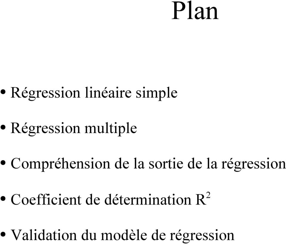sortie de la régression Coefficient de