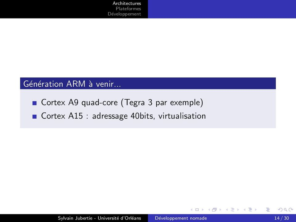 exemple) Cortex A15 : adressage 40bits,