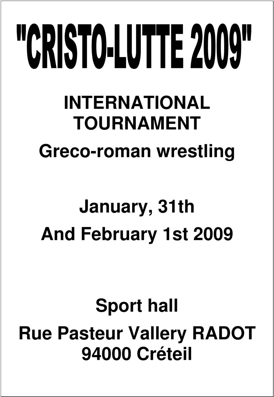 31th And February 1st 2009 Sport