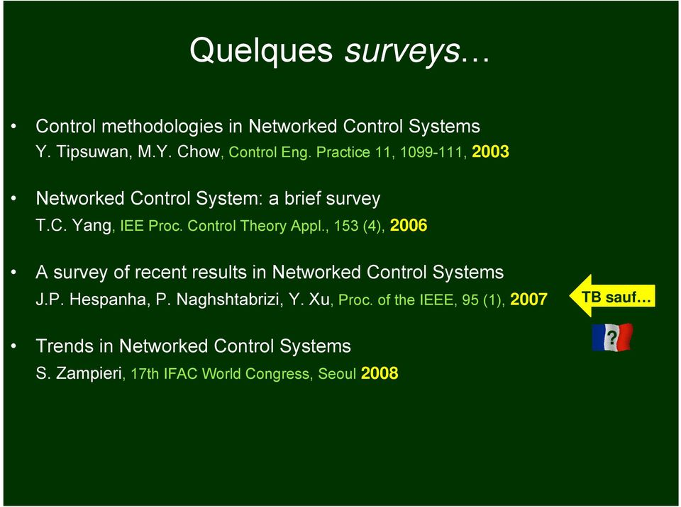 , 153 (4), 2006 A survey of recent results in Networked Control Systems J.P. Hespanha, P. Naghshtabrizi, Y.