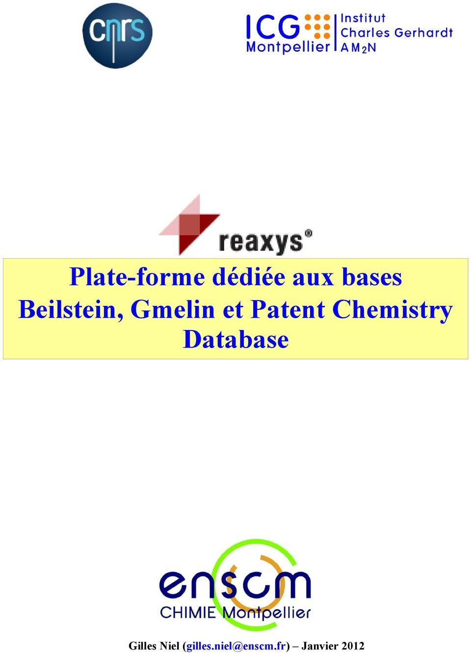 Chemistry Database Gilles Niel