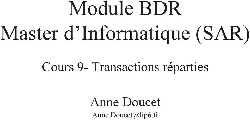 9- Transactions réparties